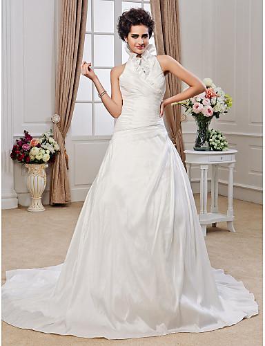 Corte en A Princesa Halter Capilla Tafetán Vestido de novia con Cuentas En Cruz Volante por LAN TING BRIDE®