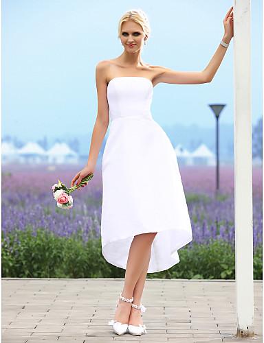 billige Mottakelseskjoler-A-linje Stroppeløs Asymmetrisk Taft Made-To-Measure Brudekjoler med av LAN TING BRIDE® / Små Hvite Kjoler