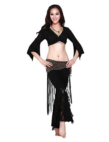 algodão crytal dancewear com top de renda e calça de dança para senhoras