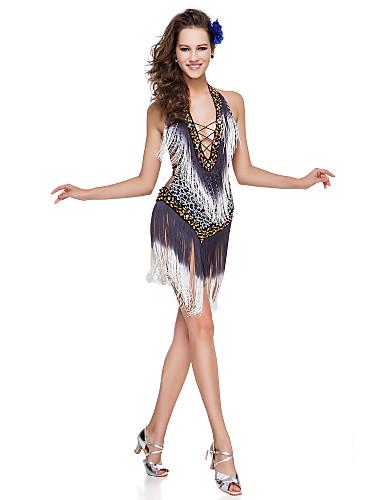 poliéster dancewear con borlas / lentejuelas funcionamiento del vestido latino construido en el sujetador de las señoras más colores