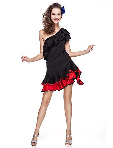 Latin Dansı Kıyafetler Kadın's Eğitim Viskoz Fırfırlı Kısa Kol Doğal
