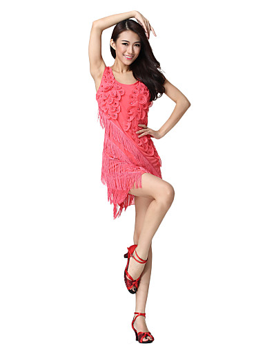 Performance Dancewear Tulle with Flowers Latin Dance Dress For Ladies More Colors