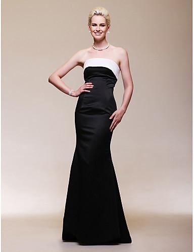 Sirena kroj Bez naramenica Do poda Saten Otvorena leđa / Celebrity Style Formalna večer Haljina s Falte po TS Couture®