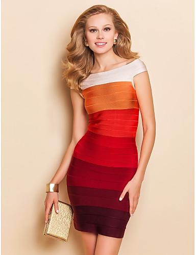 TS Boat Neck Sleeveless Gradient Red Bodycon Bandage Dress