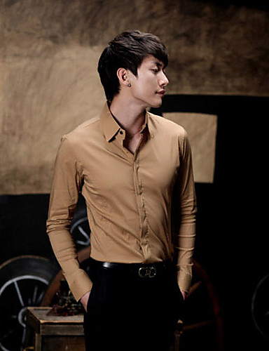 Men's Solid Casual Shirt,Cotton Long Sleeve Black / Blue / Brown / Pink / Red / White / Beige