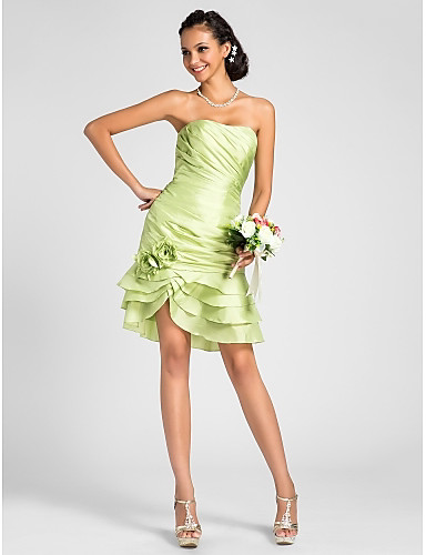 Sheath / Column Strapless Knee Length Taffeta Bridesmaid Dress with Flower Side Draping by LAN TING BRIDE®