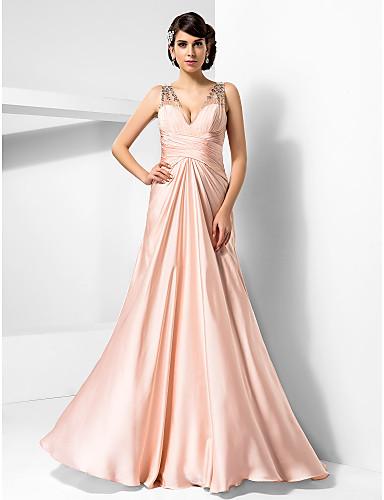 시스 / 칼럼 V 넥 바닥 길이 새틴 쉬폰 포멀 이브닝 / 밀리터리 볼 드레스 와 비즈 크리스 크로스 으로 TS Couture®