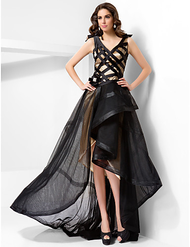 A-line V-neck Asymmetrical Tulle And Satin Evening Dress