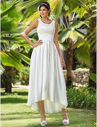 Linea-A Da principessa Girocollo Asimmetrico Raso Abiti da sposa personalizzati con Perline Con applique Tasche di LAN TING BRIDE®