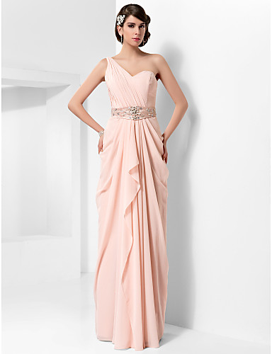 Sheath / Column One Shoulder Floor Length Chiffon Prom / Formal Evening Dress with Beading / Draping by TS Couture® / Open Back