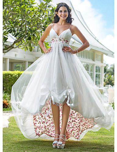 Linha A Princesa Com Alças Finas Até os Joelhos Assimétrico Organza Vestidos de noiva personalizados com Apliques Drapeado Lateral de LAN
