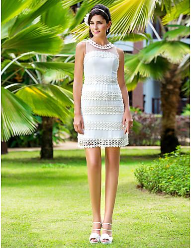 Sheath / Column Illusion Neckline Short / Mini Chiffon Tulle Wedding Dress with Appliques by LAN TING BRIDE®