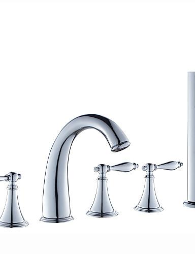 billige Sidesray-Badekarskran - Moderne Krom Romersk kar Keramisk Ventil Bath Shower Mixer Taps / Tre Håndtak fem hull