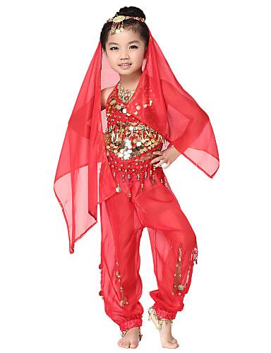 Dancewear šifon s kovanicama trbušni ples Outfits vrhu i na dnu i šal za djecu više boja