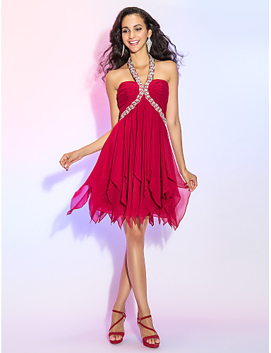 016643c805 A-Line Y Neck Short   Mini Chiffon Sparkle   Shine   Open Back Cocktail  Party Dress with Crystals   Ruched by TS Couture®