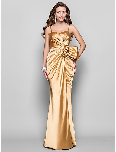 e2d07c40702 A-Line Spaghetti Strap Floor Length Stretch Satin Open Back Prom   Formal  Evening Dress with Split Front   Flower by TS Couture®  00466645