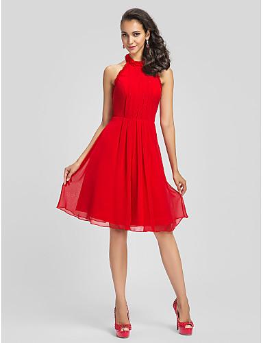 Eng anliegend / Leger & Aufgebauscht Stehkragen Knie-Länge Chiffon Cocktailparty Kleid mit Drapiert / Rüschen durch TS Couture®