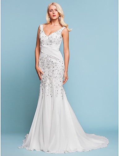 Mermaid / Trumpet V Neck Court Train Chiffon Made-To-Measure Wedding Dresses with Beading / Appliques / Criss-Cross by LAN TING BRIDE®