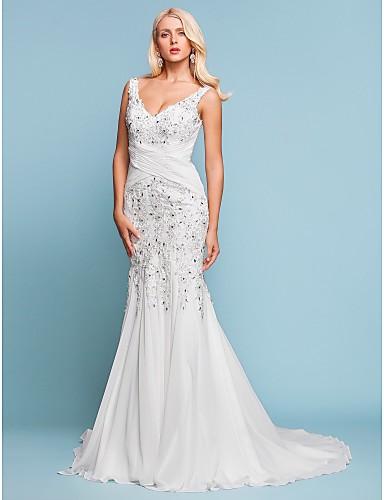 Trompeta / Sirena Escote en Pico Corte Raso Vestidos de novia personalizados con Cuentas Apliques En Cruz por LAN TING BRIDE®