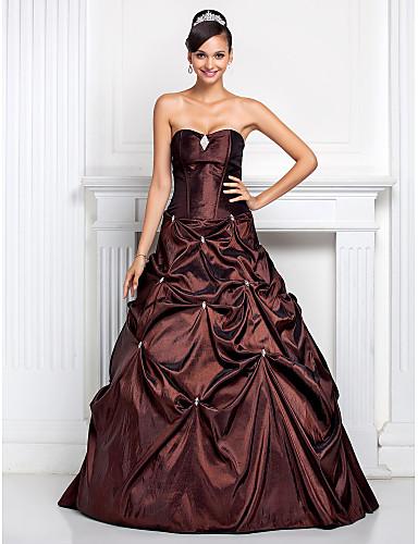 Linia -A / Haine Bal / Prințesă Fără Bretele / In Formă de Inimă Lungime Podea Tafta Spate Deschis Bal / Seară Formală Rochie cu Detalii Cristal / Rochie Pick Up / Broșă Cristal de TS Couture®
