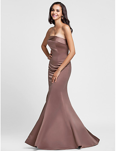 9e44f2069a8a Mermaid / Trumpet Strapless Floor Length Satin Bridesmaid Dress with Side  Draping by LAN TING BRIDE®