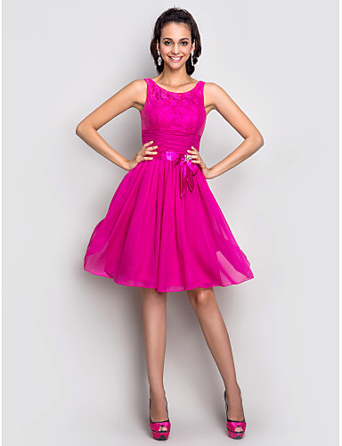 A-Line Fit & Flare Scoop Neck Knee Length Stretch Satin Cocktail Party Homecoming Holiday Dress with Bow(s) Crystal Detailing Draping