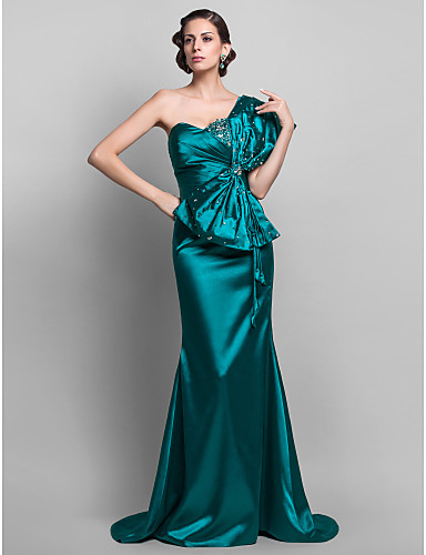 Mermaid / Trumpet One Shoulder Sweep / Brush Train Stretch Satin Open Back Formal Evening Dress with Beading / Bow(s) by TS Couture®