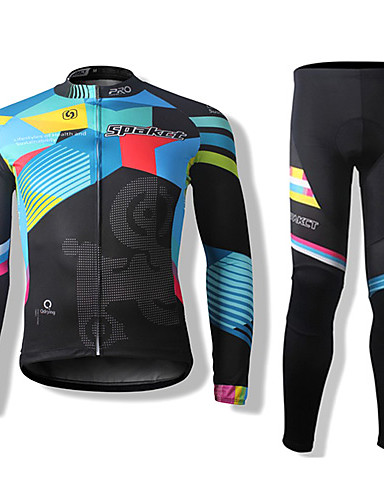 cheap Cycling Clothing-SPAKCT Men's Women's Long Sleeve Cycling Jersey with Tights Stripes Bike Clothing Suit Thermal / Warm Windproof Breathable Quick Dry Sports Polyester Stripes Mountain Bike MTB Road Bike Cycling