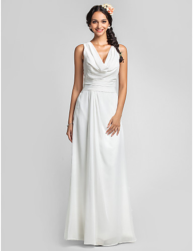 Sheath / Column Cowl Neck Floor Length Chiffon Bridesmaid Dress with Ruched Side Draping by LAN TING BRIDE®