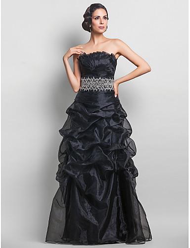A-line fără bretele lungime podea organza bal rochie cu beading de ts couture®