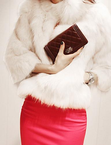 povoljno Ženske kaputi od kože i umjetne kože-Žene Izlasci Vintage Zima Normalne dužine Krzneni kaput, Jednobojni Ruska kragna 3/4 rukava Obala / Crn S / M / L