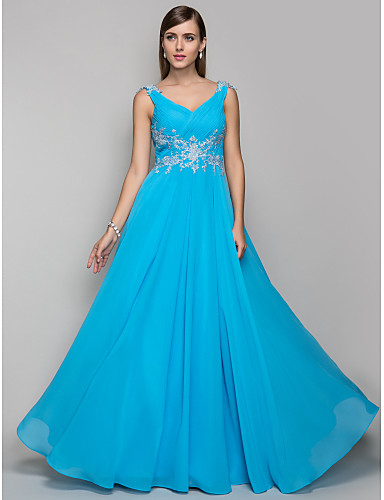 Sheath / Column V Neck Floor Length Chiffon Prom / Formal Evening Dress with Beading Appliques Criss Cross Side Draping by TS Couture®