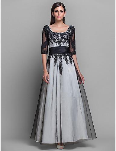 Linia -A Prințesă Lungime Podea Satin Seară Formală Bal Militar Rochie cu Dantelă de TS Couture®