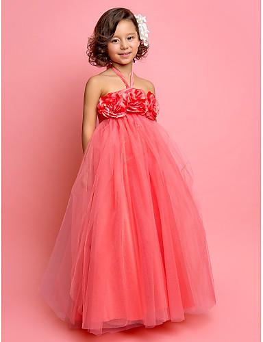 A-Şekilli / Prenses Boyundan Bağlamalı Yere Kadar Tül Çiçekli ile Çiçekçi Kız Elbisesi tarafından LAN TING BRIDE® / Bahar / Yaz / Sonbahar / İlk Tanışma