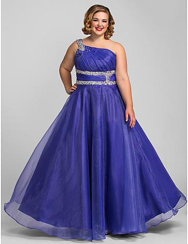 Linia -A Pe Umăr Lungime Podea Organza Bal / Seară Formală Rochie cu Detalii Cristal / Pliuri de TS Couture®