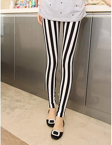 billige Tights til damer-Dame Bomull Sporty Tights - Stripet Medium Midje Svart / Hvit En Størrelse / Skinny