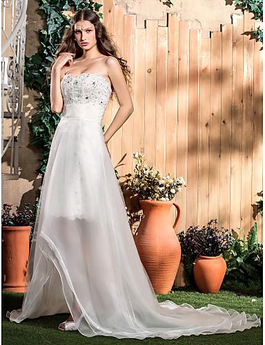 Sheath / Column Strapless Knee Length Lace Organza Wedding Dress with Beading Appliques Sash / Ribbon by LAN TING BRIDE®