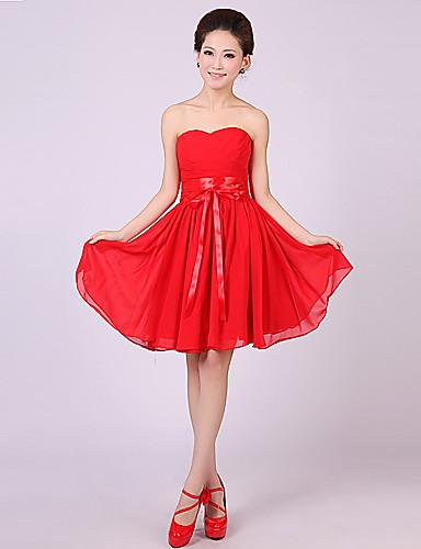 6da9b818d Qiaorui Fashion Rövid Köntös vállnélküli koszorúslány ruha (piros ...