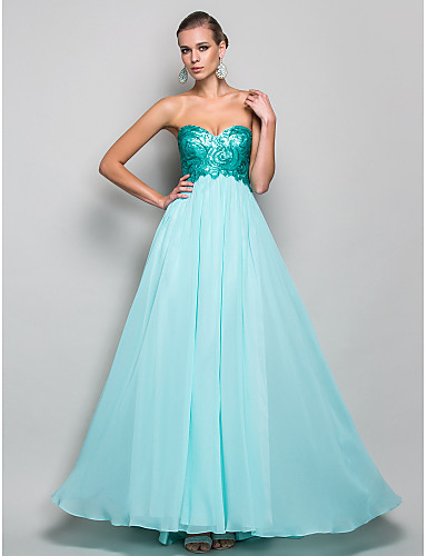 A-Line Princess Strapless Sweetheart Floor Length Chiffon Sequined Prom Formal Evening Military Ball Dress with Draping by TS Couture®