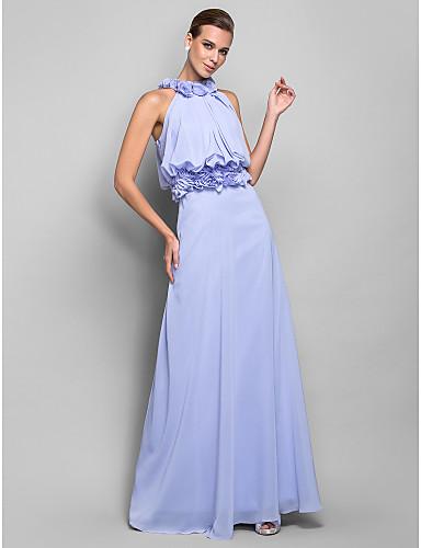 Sütun Yüksek Yaka Yere Kadar Şifon Drape / Çiçekli ile Kokteyl Partisi / Balo / Resmi Akşam Elbise tarafından TS Couture®
