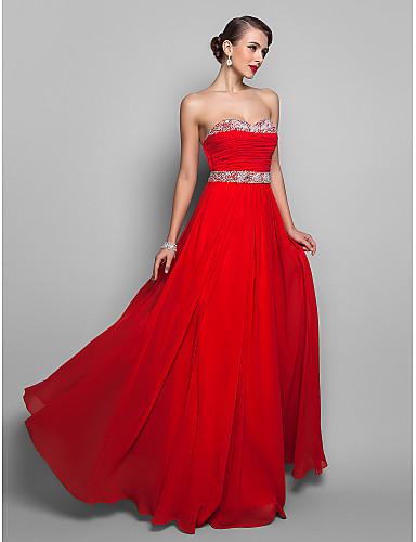 Linia -A Prințesă Fără Bretele In Formă de Inimă Lungime Podea Șifon Bal Rochie cu Mărgele Paiete Drapat Pliuri de TS Couture®
