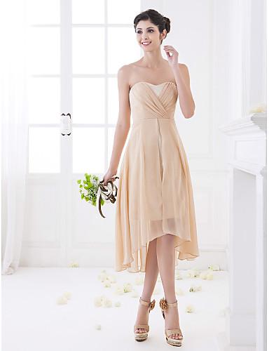 A-Linie Sweetheart Asymmetrisch Chiffon Brautjungfernkleid mit Überkreuzte Rüschen durch LAN TING BRIDE®