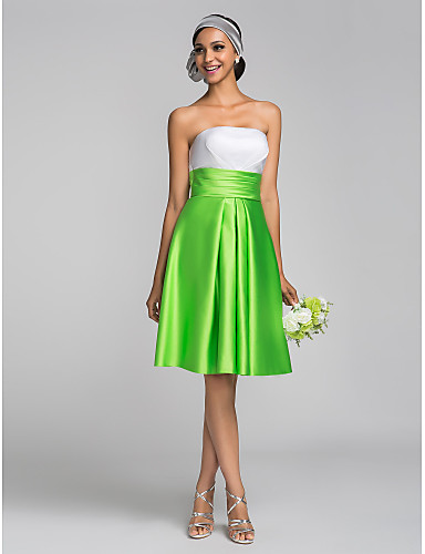 A-Line Princess Strapless Knee Length Satin Bridesmaid Dress with Ruching by LAN TING BRIDE®