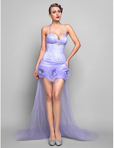 Pouzdrové Špagetová ramínka Asymetrické Tyl Formální večer Šaty s Květiny podle TS Couture®
