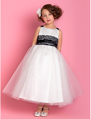 A-line princeza duljina gležnja cvijet djevojka haljina - tulle sleeveless remeni lan ting mladenka ®