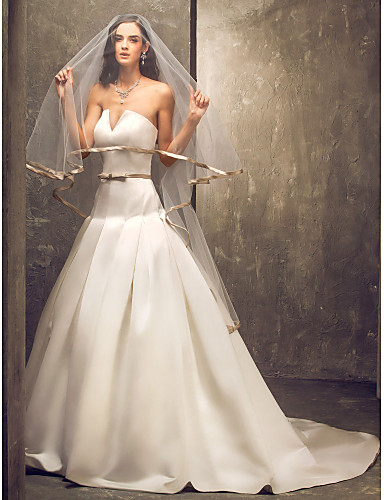 A-line Strapless Court Train Satin Wedding Dress with Sash / Ribbon Bow Draped by LAN TING BRIDE®