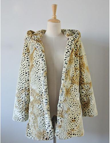 Long Sleeve Hood Faux Fur Casual/Party Coat