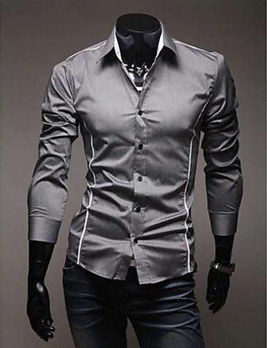 hesapli Erkek Gömlekleri-Erkek Klasik Yaka İnce - Gömlek Solid Günlük Büyük Bedenler Beyaz / Uzun Kollu / Bahar / Sonbahar