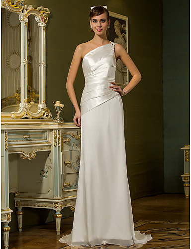 Sheath / Column One Shoulder Sweep / Brush Train Chiffon / Stretch Satin Made-To-Measure Wedding Dresses with Beading / Side-Draped by