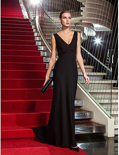 Sheath / Column V Neck Sweep / Brush Train Jersey Formal Evening / Military Ball Dress with Beading by TS Couture®